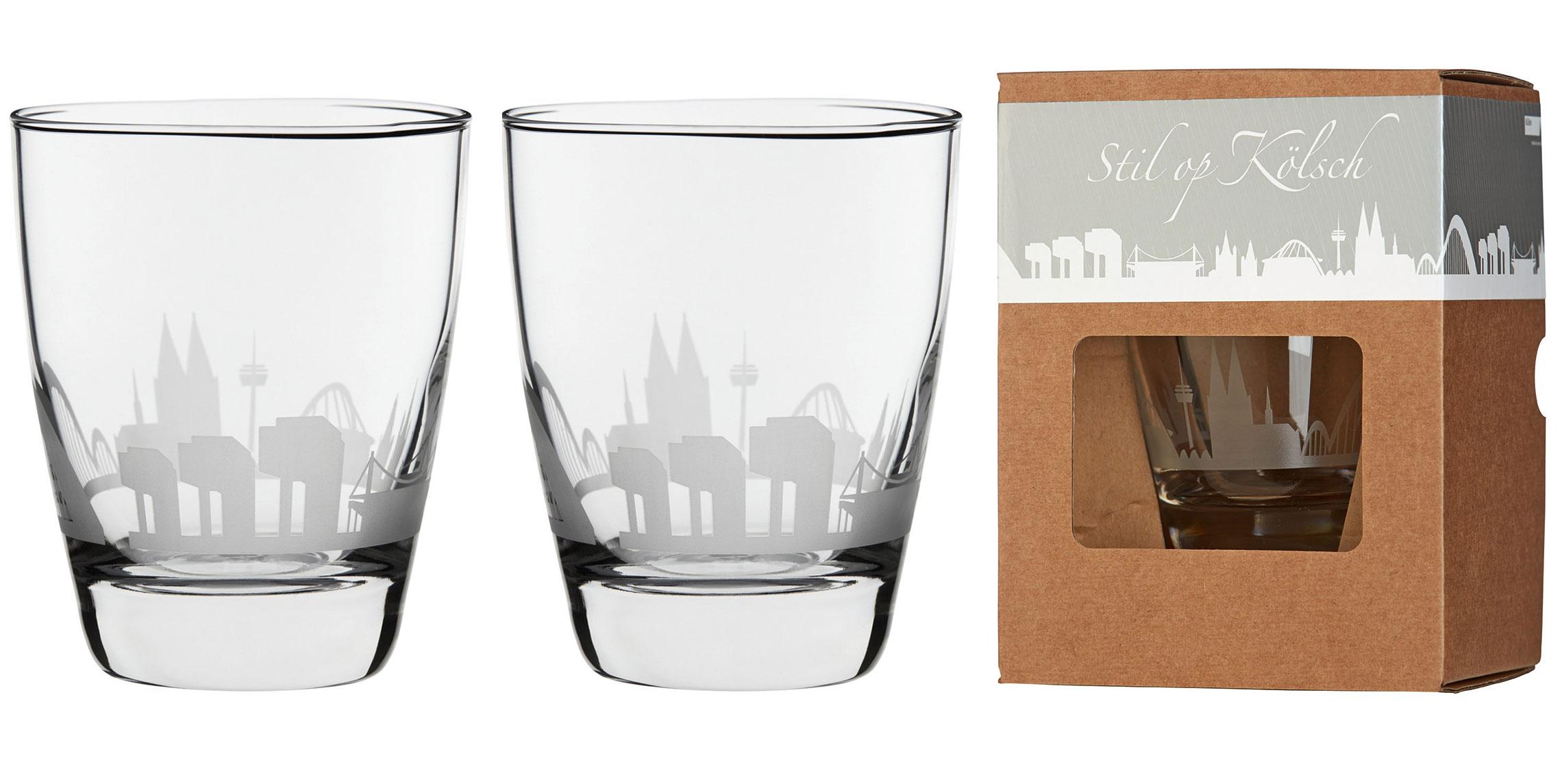 glas mit k lner skyline 2er set leben auf koelsch. Black Bedroom Furniture Sets. Home Design Ideas